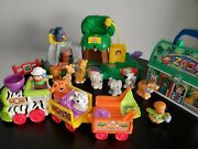 Fisher Price Little People Zoo Playset Train Animal Keeper Figure Lunch Box Lot