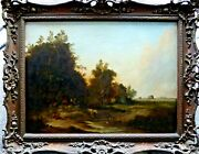 Antique Oil Painting Signed Ec Williams Cattle And Figures By A Stream