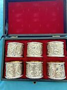 Corbell Collection Silver Plate Napkin Rings Set Of 6 In Presentation Case Rare