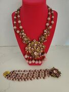 Rare Miriam Haskell Pink Glass Necklace And Bracelet. Stunning Book Piece