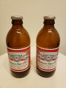 Empty Collectible Budweiser Lager Beer Stubby Bottles Lot Of 2 Caps Intact