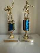 2 Lot Vintage 1997 1998 Trophies Soccer Volleyball Italian Marble Excellent