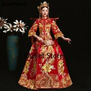 Wedding Cheongsam Bride Chinese Traditional Embroidery Phoenix Tang Suit Qipao