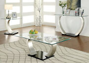 Furniture Of America Navarre Glass Top End Table Sofa Table In Satin