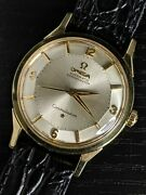 1961 Solid 14k Omega Pie Pan Constellation 14900 Serviced Andomega551 Vintage Watch