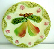 Antique French Majolica Plate Production Onnaing Pear Fruit Leaves Flowers