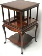 Antique Edwardian Mahogany Revolving Bookcase On Queen Anne Stand [7089]