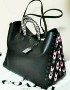 Nwt Coach Black Bag With Colorful Links And Snakeskin Leather Handle
