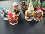 Vintage Christmas Pinecone Elf Gnomes Set Snowman Trees Made In Japan Lot