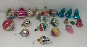 21 Piece Lot Of Vintage Christmas Ornaments/signs Of Use/age, Mostly Glass Decor