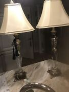 Pair Of Tall Victorian Tuscan Antique Gold Glass Silver Table Lamps Shades 35 In