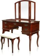 Furniture Of America Matilda Chippendale Style Vanity And Stool Setwhite/cherry