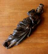 Antique Wooden Figure. Large Carved Wood Lady Statue. 17th Century