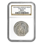 1925 Norse-american Centennial Medal Ms-65 Ngc Thick - Sku73048