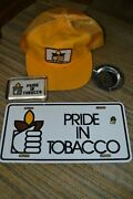 Pride In Tobacco 5 Item Lot Hat Pin License Plate Ashtray Paperweight Vintage