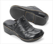 Born Coraline Black Leather Slip-on Wedge Clogs Mules Womenand039s Shoes Size 7 New