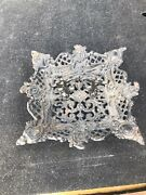 Cast Iron Art Jm 152 Reticulated Footed Candy Dish/fruit Tray Carrier W/handle