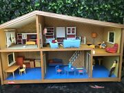 Vintage Lundby Dollhouse 1970's Split Level Furniture And Family Included