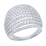 2.00 Cttw Natural Diamond Multi-row Engagement Band Ring 14k White Gold