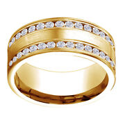 14k Yellow Gold 0.64 Ct Diamond 8mm Comfort Fit Double Row Band Ring Sz 11