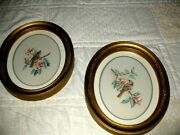 Pair Vintage Homco Interior Birds Oval Gold Framed In Glass Pictures 11x9