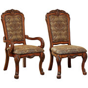 Furniture Of America Victoria Fabric Upholstered Arm Chair, Antique Oak