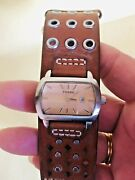 Vintage Fossil Leather Cuff Wrist Watch/org. Stamped Strap A2
