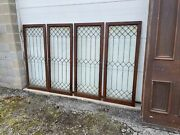 Mk116 Set Of 4 Matching Antique Leaded Glass Cabinet Doors 24 X 5andlsquo Each