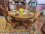 Antique 51dia. Round Solid Oak Dining Table And 4 Pressed Back Oak Chairs