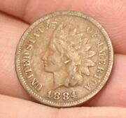 Raw Fine Or Better 1884 Indian Head Small Cent Easy To See Liberty