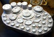 Limoges Antique Set For 18 People - 143 Pieces Guerin France Dinnerware Plates