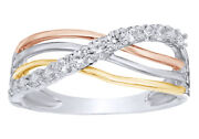 0.33 Cttw Natural Diamond Crossover Band Ring 10k Multi-tone White Gold