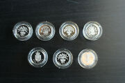 1983,1984,1985,1986,1987,1988,1989 Uk One Pound Piedfort Silver Proof Coin