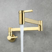 Pot Filler Faucet Wall Mount Brushed Gold Folding Stretchable Kitchen Brass Tap