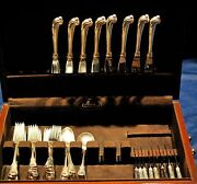 Grand Colonial Sterling Flatware Set For 8 With Rare Pistol Grip Knives