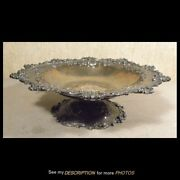 Antique Bailey Banks And Biddle Sterling Silver Repousse Footed Serving Bowl