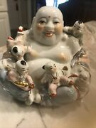 Vintage Chinese Porcelain Laughing Buddha With Five Children Statue Gold Gilt