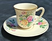 Very Rare Vintage Deluxe Inc. U.s.a. Demitasse Teacup And Saucer Gold Trim