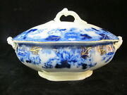 John Maddock And Sons Roseville Flow Blue Serving Bowl Tureen With Lid