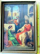 Antique Ptg Christ Jesus In House Of Martha And Mary Vermeer Style Christianity