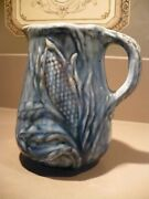 Antique 6 Early Roseville Pottery Ironstone Blue Pitcher Jug Gold Detail Corn