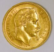 1863 France 20 Francs Gold Coin For Napoleon Iii From The Paris Mint