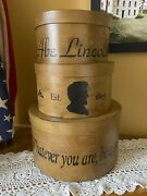 New Primitive Country Handcrafted Abe Lincoln Set Of 3 Nesting Stacking Boxes