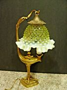 Old Bronze European Bird Lamp With Vaseline Hobnail Opalescent Glass Shade