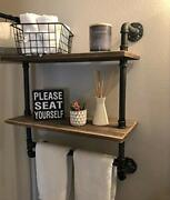 Industrial Pipe Shelfrustic Wall Shelf With Towel Bar24 Towel Racks 2-layer