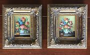 Two Framed Miniature Oil Paintings Floral Still Life