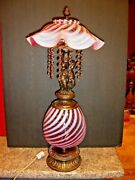 Fenton Swirl Opalescent Cranberry Cherub Lamp W/lighting In The Font And Shade