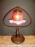 Fenton Lamp With Daisy And Fern Cranberry Opalescent Glass Shade, Almost Mint Cond