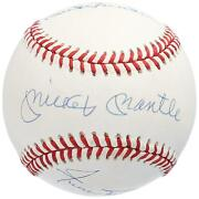 Mickey Mantle Duke Snider And Willie Mays Autographed Baseball Jsa