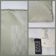 Nwt Hermes Paris Façonnee Grand H Pocket Square 45 Silk Made In France Pewter